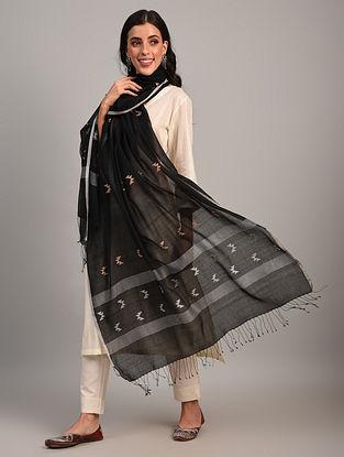 Black Handloom Jamdani  Cotton Dupatta
