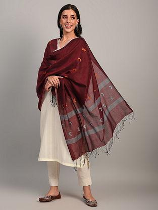 Maroon Handloom Jamdani  Cotton Dupatta