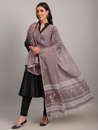 Purple Handloom Jamdani  Cotton Dupatta