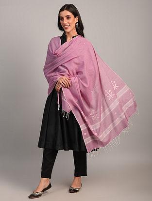 Pink Handloom Jamdani  Cotton Dupatta