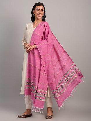 Pink  Kantha  Embroidered  Cotton Dupatta