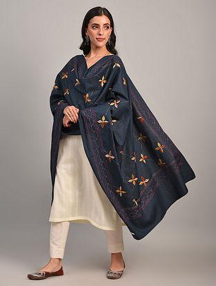 Blue Kantha Embroidered  Cotton Dupatta