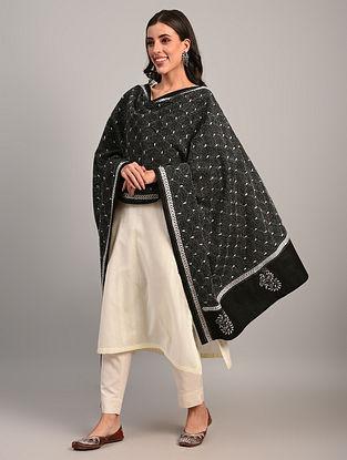 Black Kantha Embroidered  Cotton Dupatta