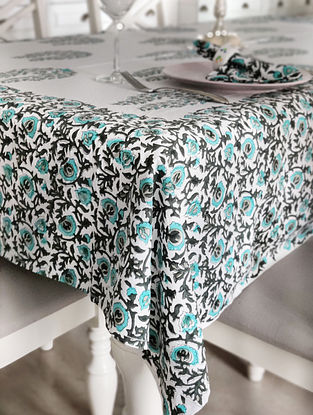 Multicolor Handblock Printed Cotton Table Cloth and Table Napkins (Set of 7)