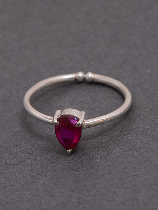Pink Classic Silver Ring with Quartz (Indian Size: 14)