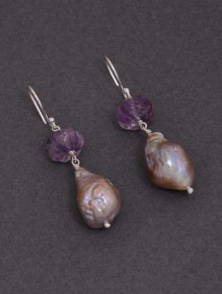 Classic Silver Drop earrings with Amethyst and Baroque Pearls