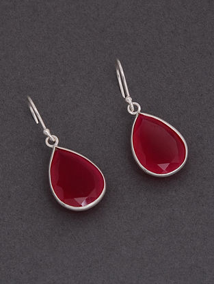 Pink Classic Silver Earrings with Chalcedony