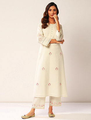Ivory Embroidered Cotton Dobby Kurta with Lace Detailing
