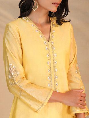 Yellow Hand Embroidered Silk Chanderi Kurta
