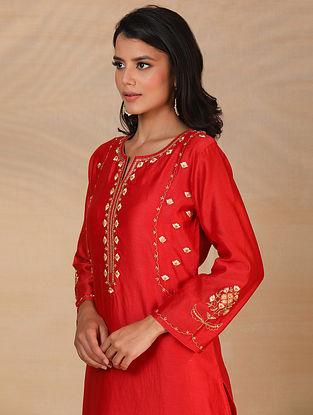 Red Hand Embroidered Silk Chanderi Kurta
