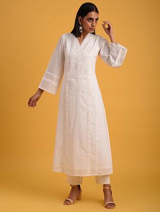 Off White Cotton Lurex Kurta with Sequin Work