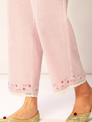 Pink Embroidered Cotton Dobby Palazzos with Lace Detailing