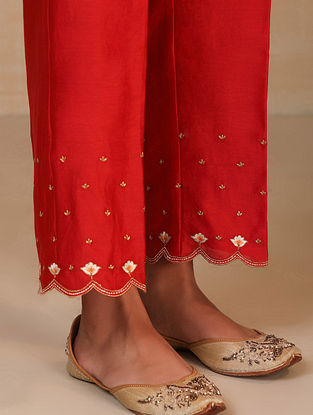 Red Embroidered Silk Chanderi Palazzos with Scallops