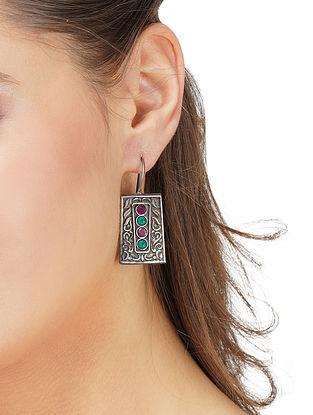 Green Pink Silver Tone Tribal Earrings