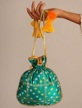 Green Handcrafted Bandhani Potli