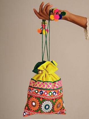 Yellow Handcrafted Rabari Dupion Silk Potli