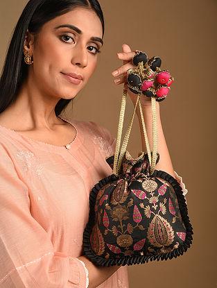 Black Handcrafted Brocade Silk Potli
