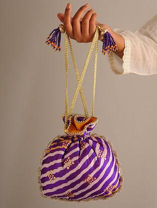 Purple Yellow Handcrafted Bandhani Silk Potli