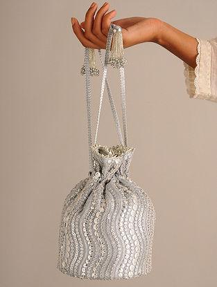 Grey Handcrafted Sequinned Net Potli