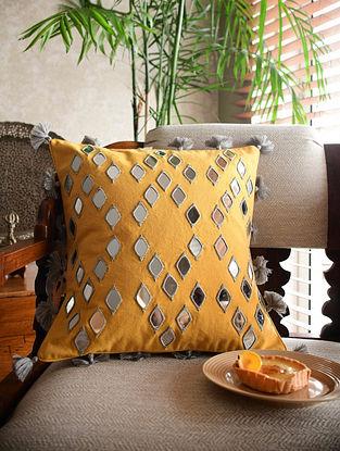 Yellow Mirrorwork Kala Cotton Cushion Cover (L - 16in, W - 16in)