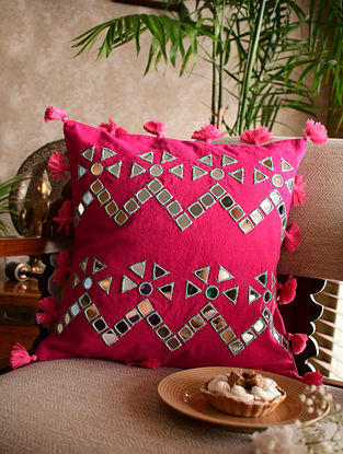 Pink Mirrorwork Kala Cotton Cushion Cover (L - 16in, W - 16in)
