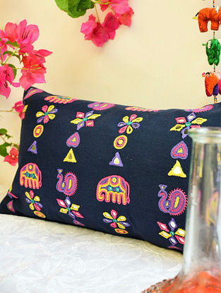 Multicolor Elephant and Peacock Rabari Mirrorwork Cushion Cover (L - 20in, W - 12in)
