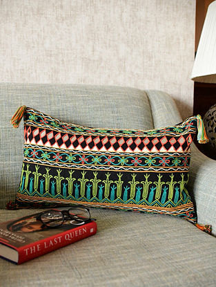 Multicolor Embroidered and Mirrorwork Cotton Cushion (L - 20in, W - 12in)