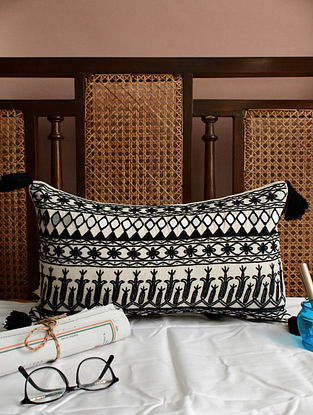 Monochrome Embroidered and Mirrorwork Cotton Cushion (L - 20in, W - 12in)
