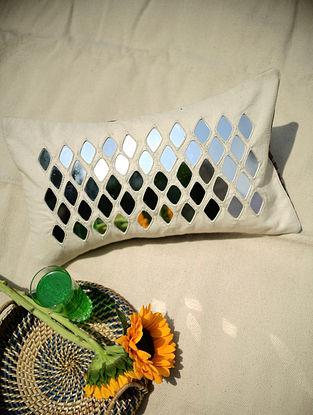 Cream Kaju Katli Mirrorwork Cushion (L - 20in, W - 12in)