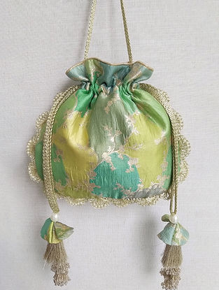 Green Handcrafted Benarasi Silk Potli