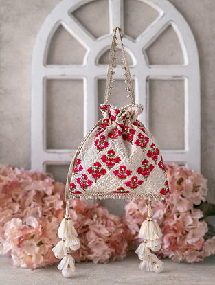 White Red Embroidered Raw Silk Potli