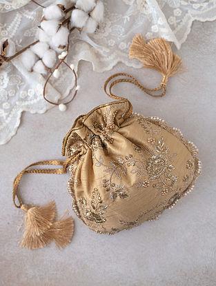Gold Embroidered Silk Potli