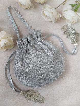 Silver Embroidered Sequinned Net Potli
