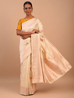 White Handwoven Benarasi Silk Saree