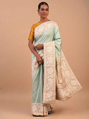 Blue - White Handwoven Benarasi Silk Saree