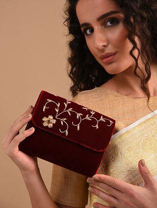 Maroon Zardosi Embroidered Velvet Clutch