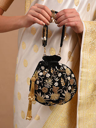Black Gold Zardosi Embroidered Velvet Potli