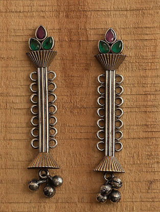 Pink Green Dual Tone Tribal Earrings