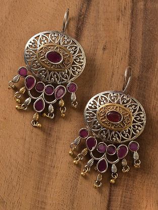 Pink Dual Tone Tribal Earrings