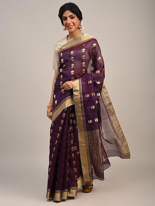 Purple Handwoven Chanderi Saree