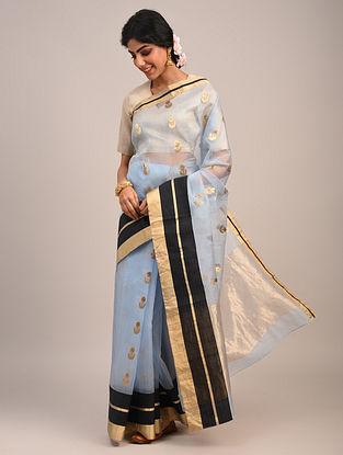 Blue Handwoven Organza Chanderi Saree