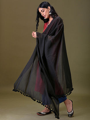 Black Cotton Dupatta With Tassels