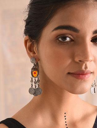 Yellow Glass Tribal Silver Earrings