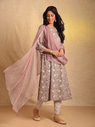 Pink Kota Cotton Dupatta with Mukaish
