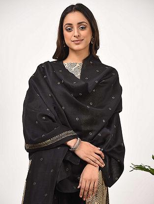 Black Silk Cotton Dupatta with Khari