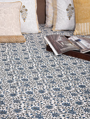 Bue and Grey Handblock Printed Cotton Double Bedcover (109in x 94in)