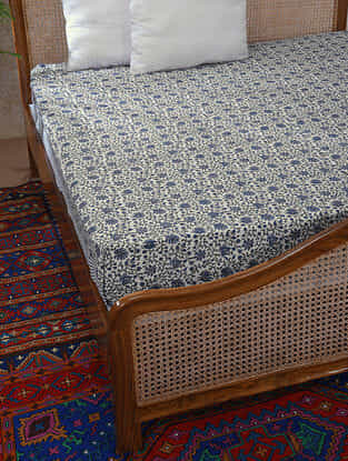 Blue and Grey Handblock Printed Cotton Double Bedcover (109in x 94in)