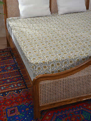 Mustard Handblock Printed Cotton Double Bedcover (108in x 94in)