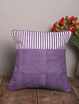 Purple Handblock Printed Cotton Cushion Cover (15.5in x 15.5in)