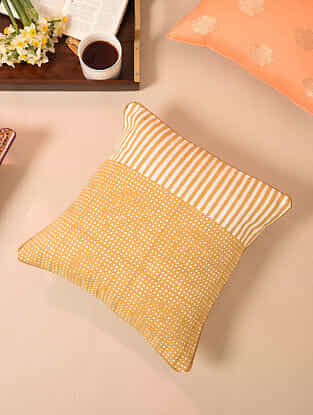 Mustard Handblock Printed Cotton Cushion Cover (16in x 16in)